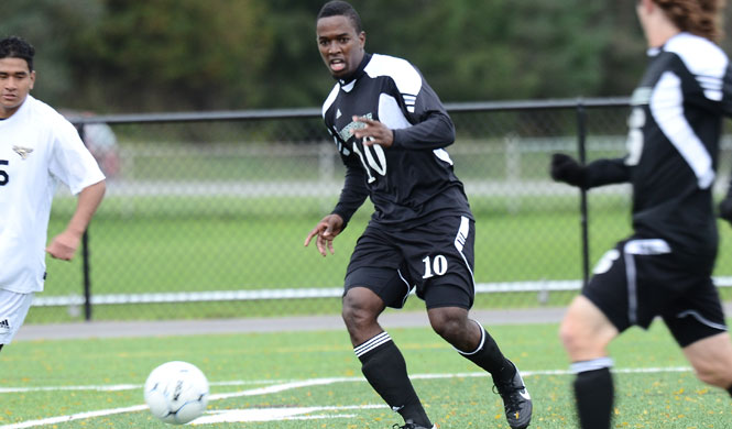 Morrisville State men's soccer in conference action against Gallaudet University in 2012.